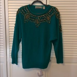 Vintage Diane green sweater gold beads beaded